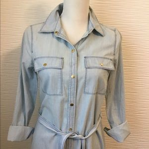 Michael Kors Light Denim Belted Maxi Shirt Dress